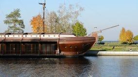 Galleon ship-restaurant in Mezhigirya. Of ex-president Yanukovich stock video footage