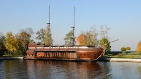 The Galleon ship-restaurant in Mezhigirya stock video footage