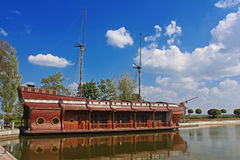 Galleon ship-restaurant in Mezhyhirya - former residence of ex-president Yanukovich Royalty Free Stock Photo