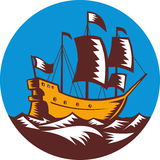 Galleon ship sailing woodcut Royalty Free Stock Photo