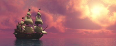 Galleon Ship with Sails. Sunset skies find a galleon ship sailing on rosy ocean waters to a far port destination stock illustration