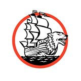 Galleon Ship Wolf on Bow Circle Retro. Retro style illustration of a Galleon sailing Ship with Wolf on Bow set inside circle on isolated background stock illustration