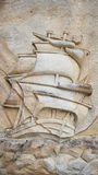 Galleon stone carving Royalty Free Stock Photo