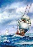 Galleons en el mar Ilustración del Vector