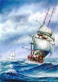 Galleons no mar Ilustração do Vetor