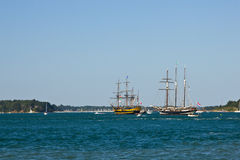 Galleons on sea Stock Images