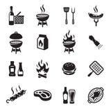 Galler- eller grillfestsymbolsuppsättning stock illustrationer
