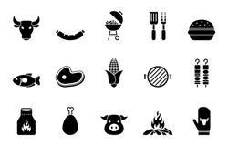 Galler- och grillfestsymbolsuppsättning vektor illustrationer