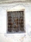 Gallerförsett fönster i Nerja, en sömnig spansk feriesemesterort på Costa Del Sol nära Malaga, Andalucia, Spanien, Europa Royaltyfri Bild