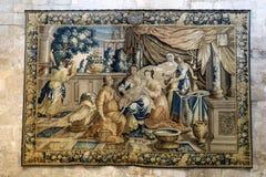 Galleri av gobelänger för 17C som Aubusson visas i liv för helgon-Trophimedomkyrkashow av Godefroy de Bouillon i Jerusalem, Arles Royaltyfria Foton