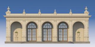 Galleri med joniska pilaster i klassisk stil 3d framför Royaltyfria Bilder
