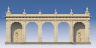 Galleri med joniska pilaster i klassisk stil 3d framför Arkivbilder