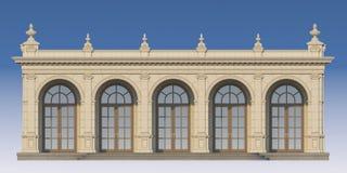 Galleri med joniska pilaster i klassisk stil 3d framför Arkivbild