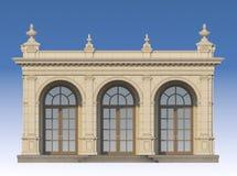 Galleri med joniska pilaster i klassisk stil 3d framför Royaltyfri Foto