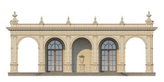 Galleri med joniska pilaster i klassisk stil 3d framför Arkivfoto