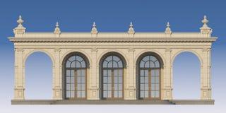 Galleri med joniska pilaster i klassisk stil 3d framför Royaltyfri Bild