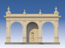 Galleri med joniska pilaster i klassisk stil 3d framför Fotografering för Bildbyråer