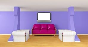 Galleri med lyxiga sofas med lcd-tv:n stock illustrationer