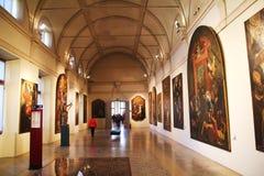 Galleri med många målningar i museet Palazzo Te i Mantova, Italien Arkivbild