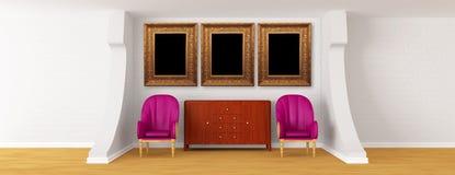 Galleri med stolar och byrå vektor illustrationer