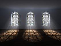 Galleria con le finestre macchiate Immagine Stock Libera da Diritti