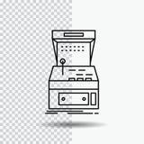 Galleria, console, gioco, macchina, linea icona del gioco su fondo trasparente Illustrazione nera di vettore dell'icona royalty illustrazione gratis