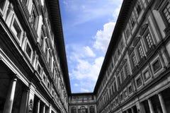 Galleria degli Uffizi. Uffizi Gallery - Under blue sky, Florence Italy (HDR photo composition Stock Image