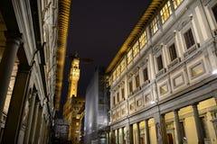 Galleria degli Uffizi with Palazzoo Vecchio on the background Stock Photos