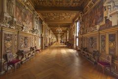 Galleria dell'interno di Chateau de Fontainbleau Fotografia Stock