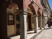 Galleria di acquisto nella città di Corfù sull'isola greca di Corfù Fotografie Stock Libere da Diritti