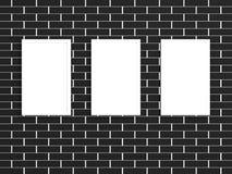 galleria di maschera 3d su un muro di mattoni illustrazione vettoriale