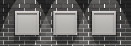 galleria di maschera 3d su un muro di mattoni illustrazione di stock