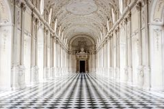The Galleria Grande, Venaria Reale Palace, Turin, Italy. The Galleria Grande with its famous checkered floor, Venaria Reale Palace, Turin, Italy Stock Photography
