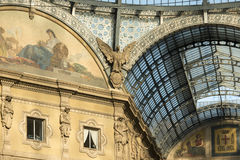 Galleria ironworks and glass roof, Milan Royalty Free Stock Images