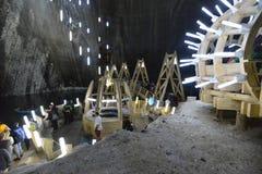 Galleria Salina Turda della miniera di sale in Romania fotografie stock