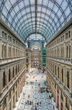 Galleria Umberto perspective, Naples, Italy. Central perspective view of monumental Galleria Umberto in Naples, Italy Stock Image