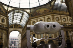 Galleria Vittorio Emanuele ΙΙ προοπτική τηλεσκοπίων γυαλιού του Μιλάνου Στοκ Εικόνες