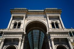 Galleria Vittorio Emanuele front portal. Horizontal, no people. stock images