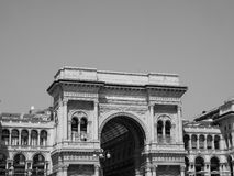 Galleria Vittorio Emanuele II arcade in Milan, black and white stock photography