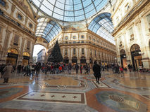 Galleria Vittorio Emanuele II arcade in Milan. MILAN, ITALY - CIRCA JANUARY 2017: Tourists in Galleria Vittorio Emanuele II shopping arcade Royalty Free Stock Photos