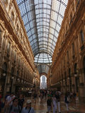 Galleria Vittorio Emanuele II arcade in Milan. MILAN, ITALY - CIRCA JULY 2017: Galleria Vittorio Emanuele II shopping arcade Royalty Free Stock Images