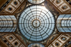 Galleria Vittorio Emanuele II arcade, Milan, Italy. Glass-vaulted roof of Galleria Vittorio Emanuele II, arcade, Milan, Lombardy, Italy Royalty Free Stock Photography