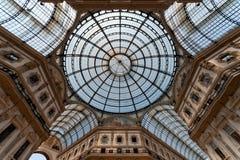 Galleria Vittorio Emanuele II arcade, Milan, Italy. Glass-vaulted roof of Galleria Vittorio Emanuele II, arcade, Milan, Lombardy, Italy Royalty Free Stock Images