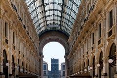 Galleria Vittorio Emanuele II arcade, Milan, Italy. Glass-vaulted roof of Galleria Vittorio Emanuele II, arcade, Milan, Lombardy, Italy Royalty Free Stock Image