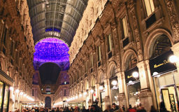 Galleria Vittorio Emanuele II during Christmas holidays Stock Photos