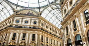 Galleria Vittorio Emanuele II in de stad van Milaan, Italië Royalty-vrije Stock Afbeeldingen