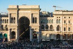 Galleria Vittorio Emanuele II Entryway Sławny miejsce przeznaczenia Włochy obraz royalty free