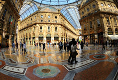 Galleria Vittorio Emanuele II from inside the arca. Galleria Vittorio Emanuele II, historical arcade, Milan, Lombardy, Italy Royalty Free Stock Images