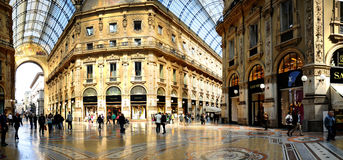Galleria Vittorio Emanuele II from inside the arca. Galleria Vittorio Emanuele II, historical arcade, Milan, Lombardy, Italy Royalty Free Stock Image