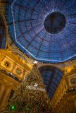 Galleria Vittorio Emanuele II in Milan with Christmas tree illuminated and lights, Italy. stock image